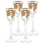 Set of 6 Embellished 24K Gold Crystal Liquor Goblets-Made In Italy