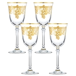 Set of 4 Embellished 24K Gold Crystal Red Wine Goblets-Made In Italy