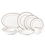 Lorren Home 50 Piece New Bone China Dinnerware Set Service for 8-Scarlet