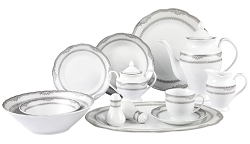 57 Piece Wavy Edge Silver Border Dinnerware, Service for 8.  By Lorren Home Trends