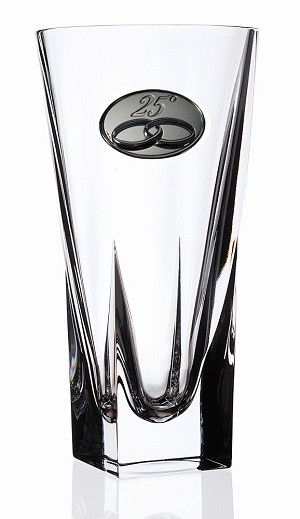 RCR Fusion Crystal Vase Large with 25th Anniversay Design
