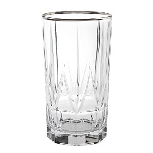 Chic Set of 6 High Ball Tumblers with Platinum Trim By Lorren Home Trends