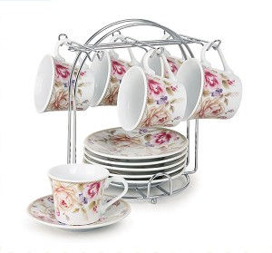 Set of 6 Espresso Cups 2oz.  On Metal Stand-Pink and Ivory Flower
