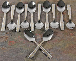 Espresso Spoons set 12 Stainless and Gold