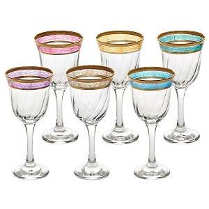 White Wine Set of 6 Melania Collection Multicolor