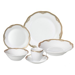 Porcelain Wavy Edge Dinnerware Set, 24 Piece Service for 4 by Lorren Home Trends: Catherine Design