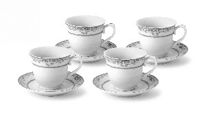 Lorren Home 7oz. Tea/Coffee Set Service for 6-Silver Floral