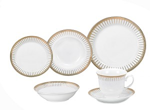 Porcelain  Dinnerware Set, 24 Piece Service for 4 by Lorren Home Trends: Aria Design