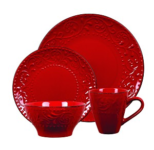 Lorren Home Trends 16 Piece Stoneware Scroll Dinnerware Set-Red