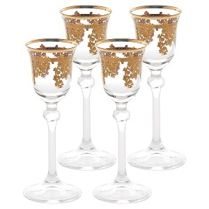 Set of 4 Embellished 24K Gold Crystal Liquor Goblets-Made In Italy