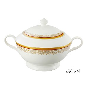 La Luna Collection Bone China Souptureen with Lid, Romina Pattern by Lorren Home Trends