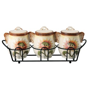 Sunflower Set of 3 Jar Set in Stand By Lorren Home Trends