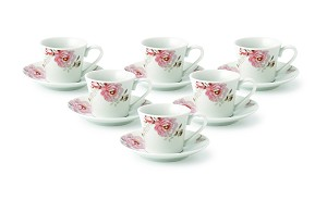 Espresso Set-Service for Six Pink Floral and Butterfly Design