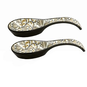 Bimini Collection Set of 2 Spoon Rest-Black and Brown